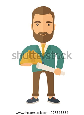 A happy young construction worker holding hard hat and blueprint plan. A Contemporary style. Vector flat design illustration isolated white background. Vertical layout. - stock vector