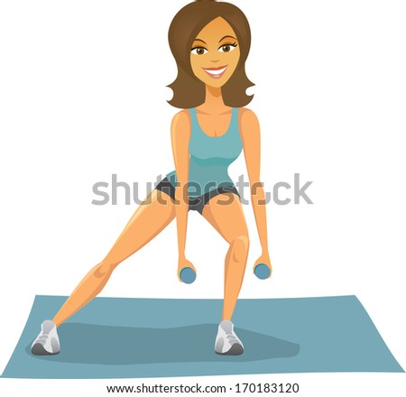 A healthy happy brunette woman works out with free weights on a mat in work out gear. - stock vector