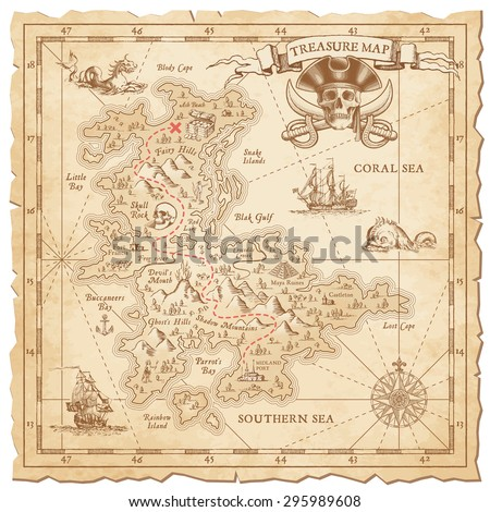 "A Hi detail, grunge Vector ""Treasure Map"" with lots of decoration hand drawn with incredible details. - stock vector"