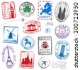 A high detail collection of Travel Stamps concepts, with traditional symbols from all major countries of Europe - stock vector