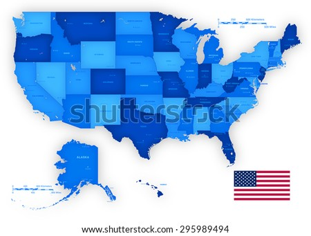 A High Detail vector set including a Map of the United States of America States, with capitals and major cities, and the USA flag. - stock vector