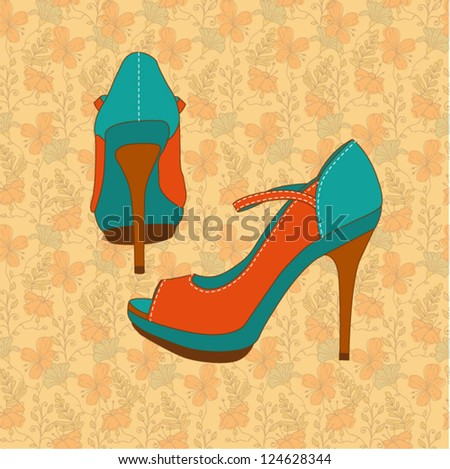 a high-heeled vintage orange shoes with hand draw floral pattern - stock vector