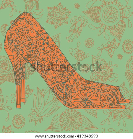A high-heeled vintage shoes with ornate fabric. High heels background with place for you text. Indian pattern, boho chic. Fashion shoes - stock vector
