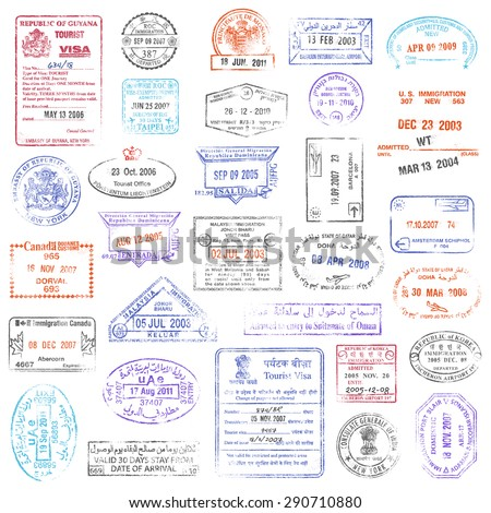 A high quality collection of vector passport stamps. - stock vector