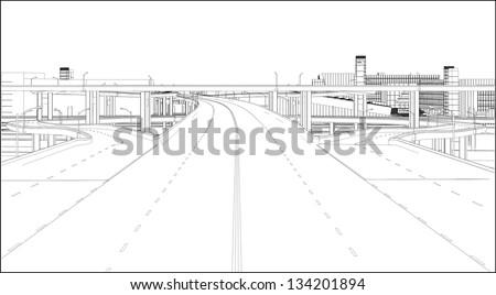 A Highway Interchange 01 - stock vector