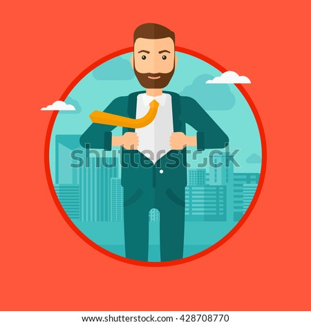A hipster businessman with the beard opening hisr jacket like superhero on the background of modern city. Businessman superhero. Vector flat design illustration in the circle isolated on background. - stock vector