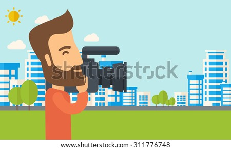 A hipster cameraman with video camera taking a video with thye buildings around. Vector flat design illustration. Horizontal layout. - stock vector