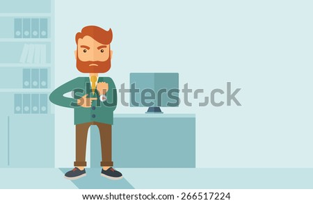 A hipster Caucasian businessman with beard standing angry pointing his wristwatch inside his office. Angry concept . A contemporary style with pastel palette soft blue tinted background. Vector flat - stock vector