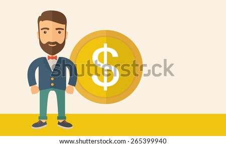 A hipster Caucasian businessman with beard wearing blue jacket smiling while standing with dollar sign beside him showing that he has an increasing sales in business. Happy, winner concept. - stock vector