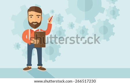 A hipster Caucasian employee with beard standing holding a pen presenting and sharing his report in marketing strategy inside conference room. Reporting concept. A contemporary style with pastel - stock vector