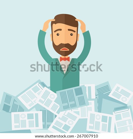 A hipster Caucasian man has a lot of works to do with those papers infront of him, problem on how to meet the deadline of his report. Disappointment concept. A contemporary style with pastel palette - stock vector
