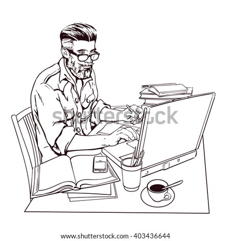 A hipster man in a jeans jacket sits at a table. Writer, journalist, scholar, student write his work in the computer. Work on the Internet. On the table, a lot paperwork. The process of study. Vector  - stock vector