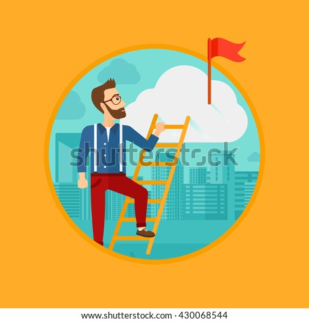 A hipster man with the beard holding the ladder to get the red flag on the top of the cloud. Vector flat design illustration in the circle isolated on background.