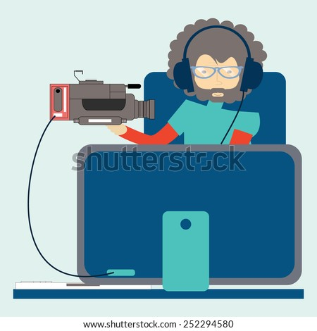 A Hipster Man Working on Video Editing Job on Computer - stock vector