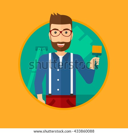 A hipster painter with the beard holding a paint brush. Painter painting walls with paint brush at home. House renovation concept. Vector flat design illustration in the circle isolated on background. - stock vector