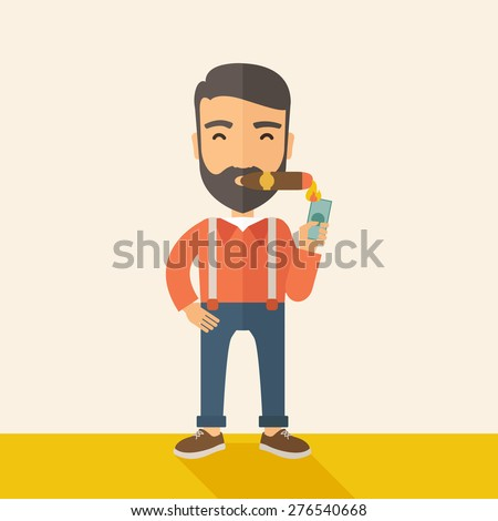 A hipster smiling businessman lighting the cigar tobacco to release pressure from work. Successful business concept.  A Contemporary style with pastel palette, soft beige tinted background. Vector - stock vector