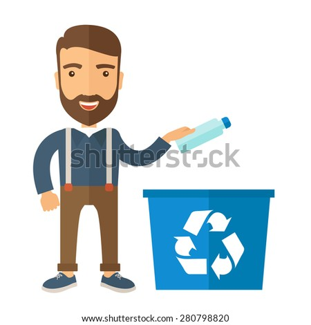 A hipster throwing plastic container into blue can with recycle symbol. A Contemporary style. Vector flat design illustration isolated white background. Square layout. - stock vector