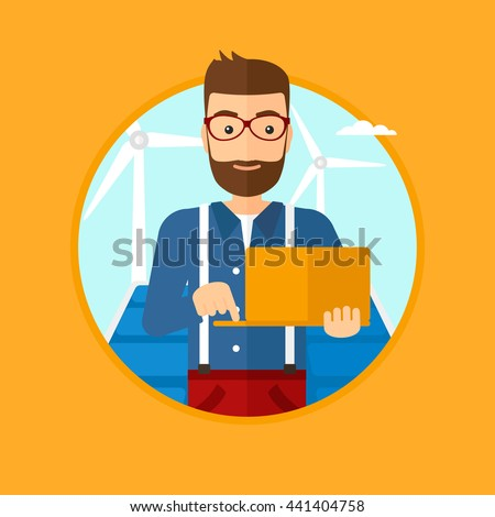 A hipster worker of solar power plant and wind farm. Man with laptop on a background of solar power plant and wind turbines. Vector flat design illustration in the circle isolated on background. - stock vector