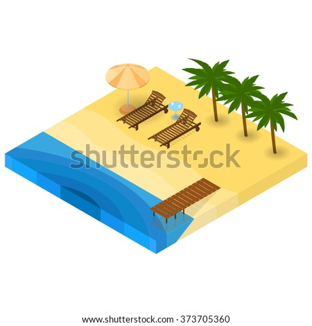 A holiday by the sea. Sandy beach. Two sunbeds under an umbrella. A small table with cups of water. A wooden pier. A vacation by the ocean. Green palms. Vector illustration. - stock vector