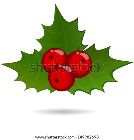 A holly berry sprig, christmas symbol  - stock vector