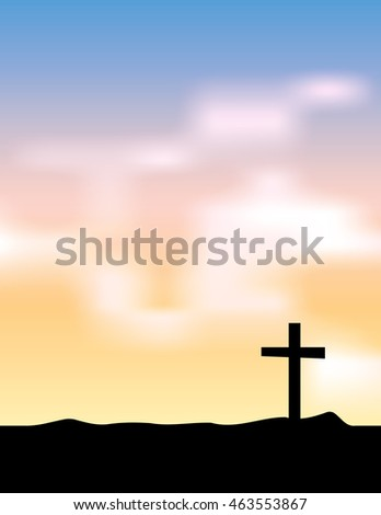 A holy christian cross silhouetted against a rising or setting sun sky illustration. Vector EPS 10 available. Room for copy.