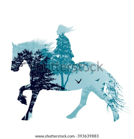 A Horse Rider Silhouette With Landscape Vector Illustration