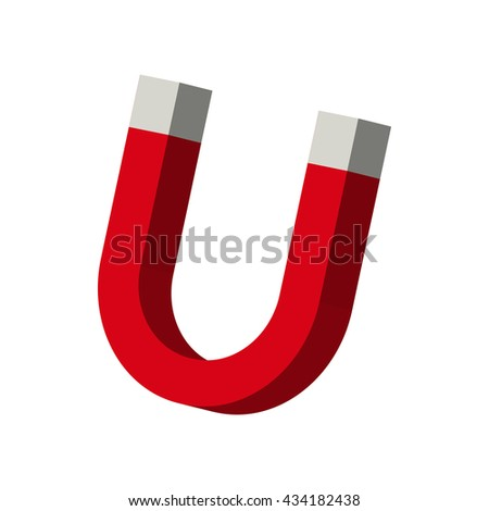 A horseshoe magnet icon, cartoon style - stock vector