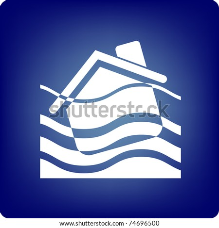 A house being drowned on blue background - stock vector