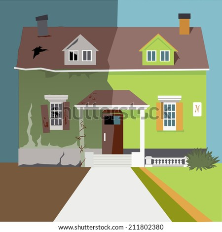 A house divided into before and after renovation parts - stock vector