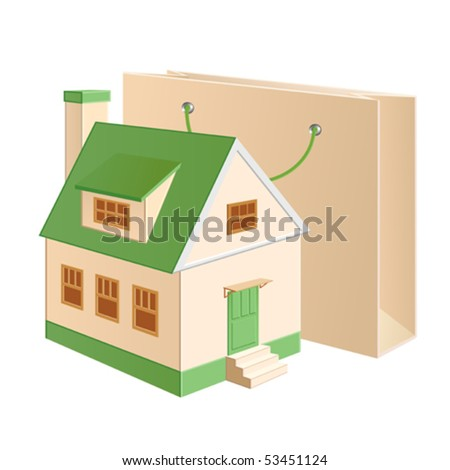 A house model near a shopping bag - stock vector