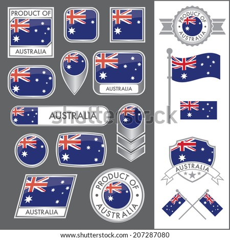 A huge vector collection of Australian flags in multiple different styles. In total there are 17 unique treatments that will be useful for a variety of applications. - stock vector