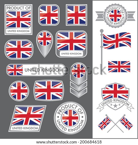 A huge vector collection of British flags in multiple different styles. In total there are 17 unique treatments that will be useful for a variety of applications. - stock vector