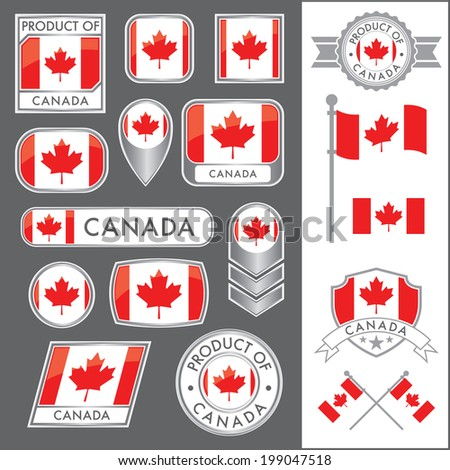 A huge vector collection of Canadian flags in multiple different styles. In total there are 17 unique treatments that will be useful for a variety of applications. - stock vector