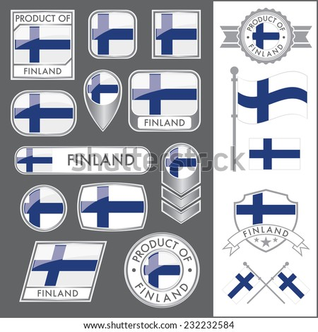A huge vector collection of Finnish flags in multiple different styles. In total there are 17 unique treatments that will be useful for a variety of applications. - stock vector