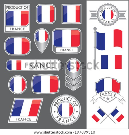A huge vector collection of French flags in multiple different styles. In total there are 17 unique treatments that will be useful for a variety of applications. - stock vector