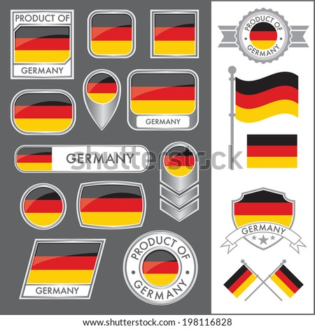 A huge vector collection of German flags in multiple different styles. In total there are 17 unique treatments that will be useful for a variety of applications. - stock vector