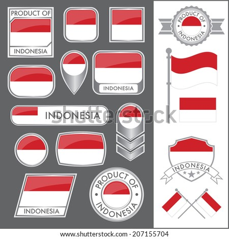 A huge vector collection of Indonesian flags in multiple different styles. In total there are 17 unique treatments that will be useful for a variety of applications. - stock vector