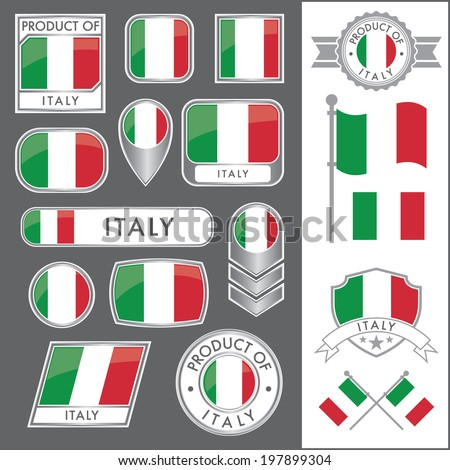 A huge vector collection of Italian flags in multiple different styles. In total there are 17 unique treatments that will be useful for a variety of applications. - stock vector