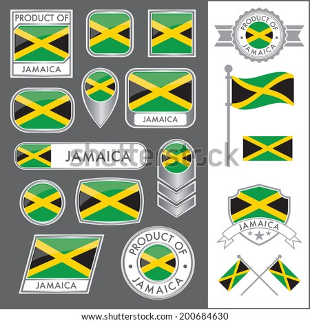 A huge vector collection of Jamaican flags in multiple different styles. In total there are 17 unique treatments that will be useful for a variety of applications. - stock vector