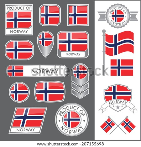 A huge vector collection of Norwegian flags in multiple different styles. In total there are 17 unique treatments that will be useful for a variety of applications. - stock vector