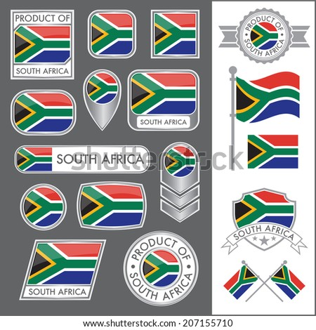 A huge vector collection of South African flags in multiple different styles. In total there are 17 unique treatments that will be useful for a variety of applications. - stock vector