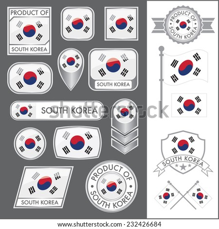 A huge vector collection of South Korean flags in multiple different styles. In total there are 17 unique treatments that will be useful for a variety of applications. - stock vector