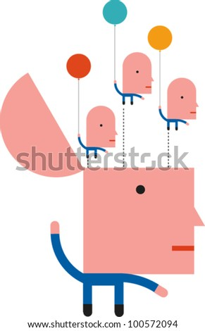 A human figure with smaller human figures holding balloons floating out of his open head - stock vector