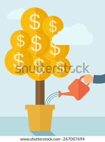 A human hand watering money dollar coin tree to grow bigger. Hardworking concept. A contemporary style with pastel palette soft blue tinted background with desaturated clouds. Vector flat design - stock vector