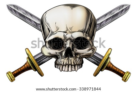 A human skull and crossed swords pirate sign in vintage woodblock style