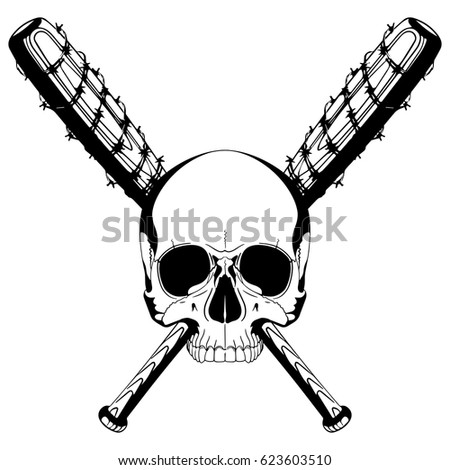 Baseball skull on wire baseball bat