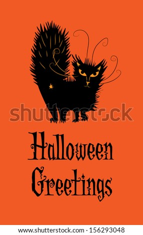 """a humorous """"Halloween Greeting"""" from a rascally black cat - stock vector"""