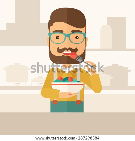 A hungry man eating meal with his fork and by carrying the bowl. Craving concept. A Contemporary style with pastel palette, soft beige tinted background. Vector flat design illustration. Square layout - stock vector