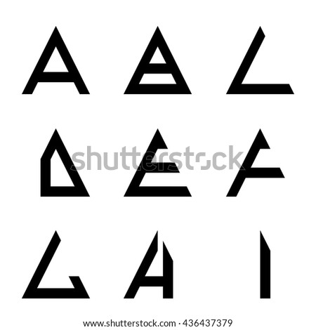 Ai Triangle Shapes Alphabet Letters Font Stock Vector 436437379