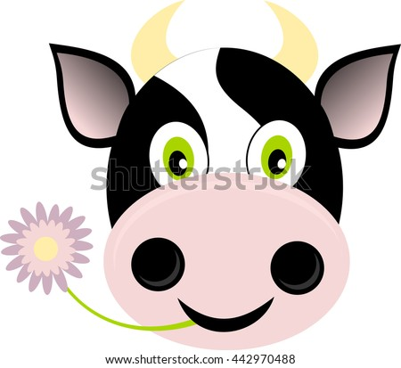 A icon or logo cow's head smiling with a flower in his mouth in a simple style